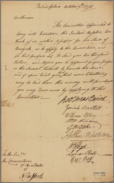 Letter to the Convention of New York