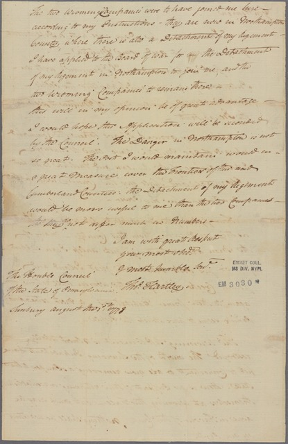 Letter to the Council of Pennsylvania