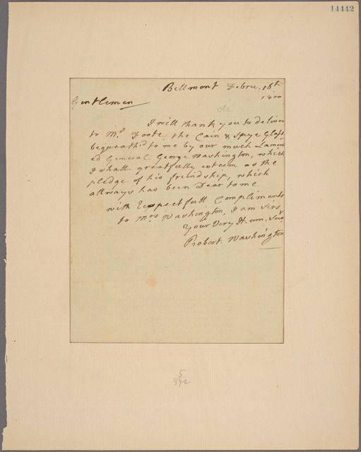 Letter to the Executors of General Washington's Estate, Mount Vernon