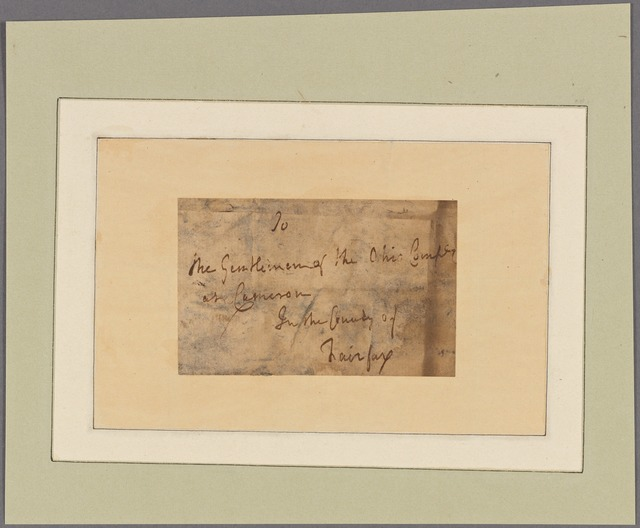 Letter to the gentlemen of the Ohio Company at Cameron in the County of Fairfax