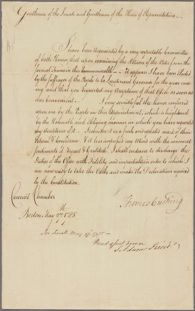 Letter to the Senate and the House of Representatives of Massachusetts
