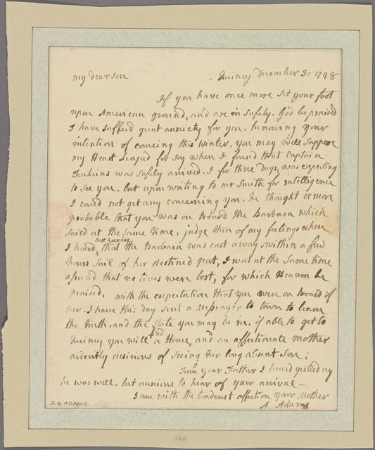 Letter to [Thomas Boylston Adams.]