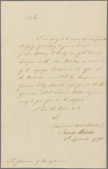 Letter to [Thomas Mifflin]