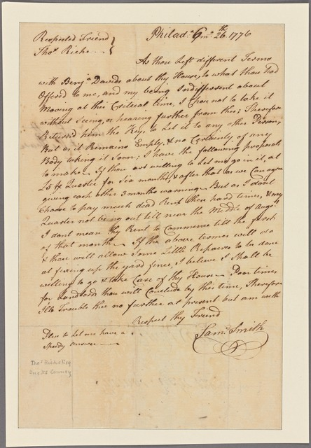 Letter to Thomas Riche, Bucks County [Penn.]
