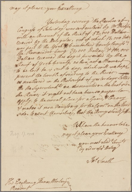 Letter to Thomas Wharton, President of the Supreme Executive Council of Pennsylvania