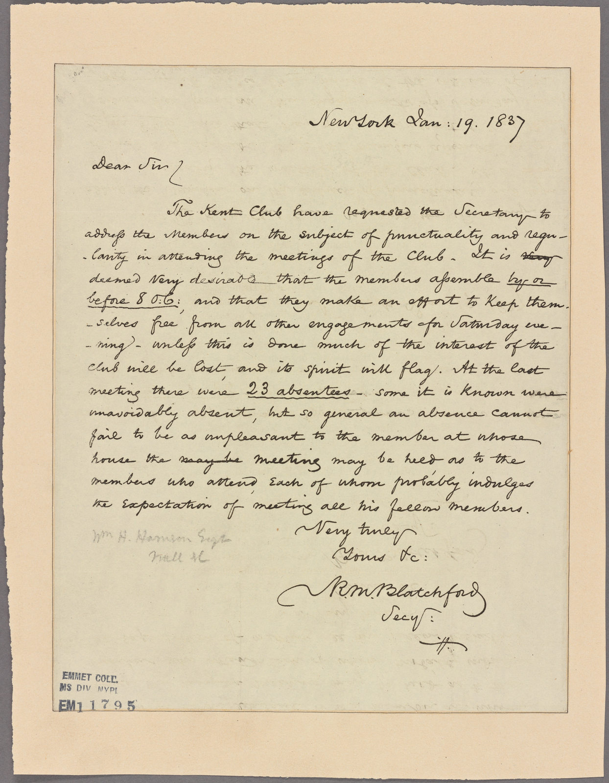 Letter to [William Henry Harrison, Wall Street, New York.]