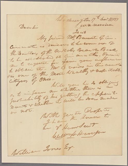 Letter to William Jones