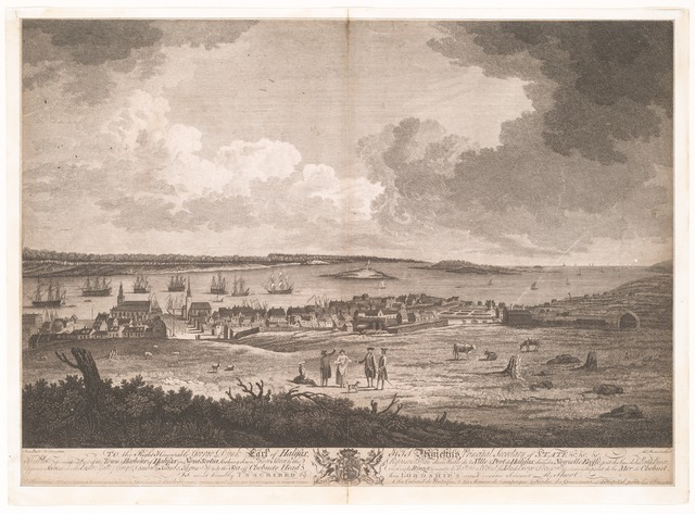 Part of the town and harbour of Halifax in Nova Scotia.