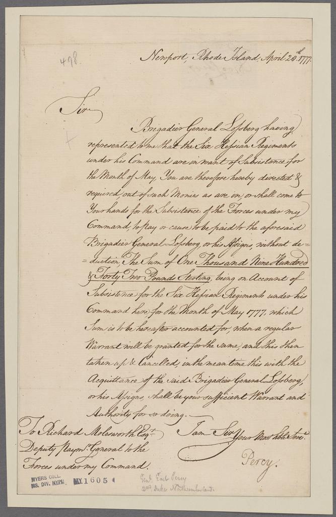 Percy, Hugh [Earl] 2nd. Newport, R.I. To Richard Molesworth