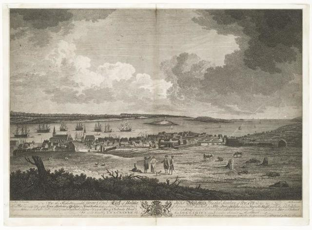 The town and harbour of Halifax in Nova Scotia, as appears from George Island.