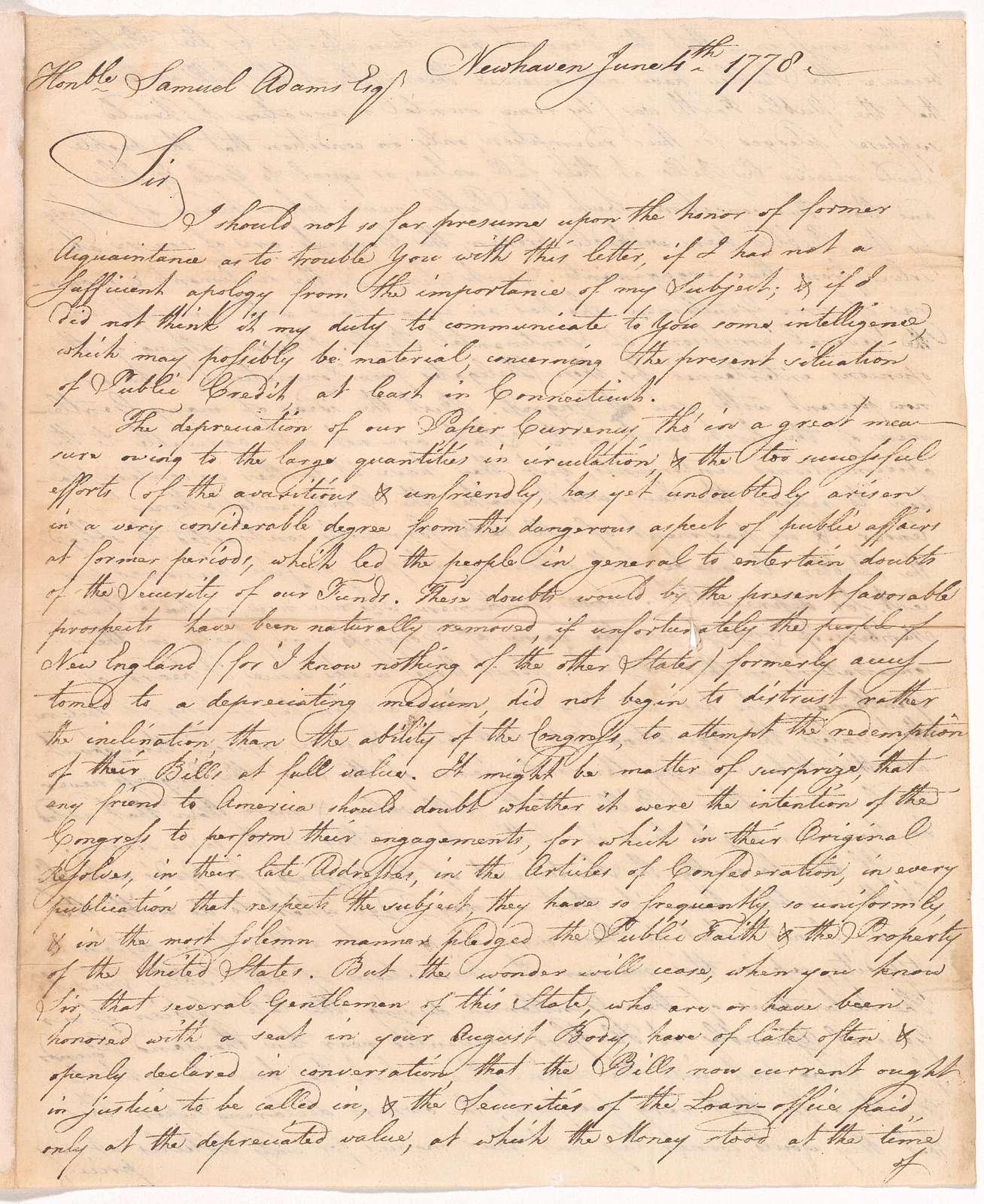 Letter from John Trumbull