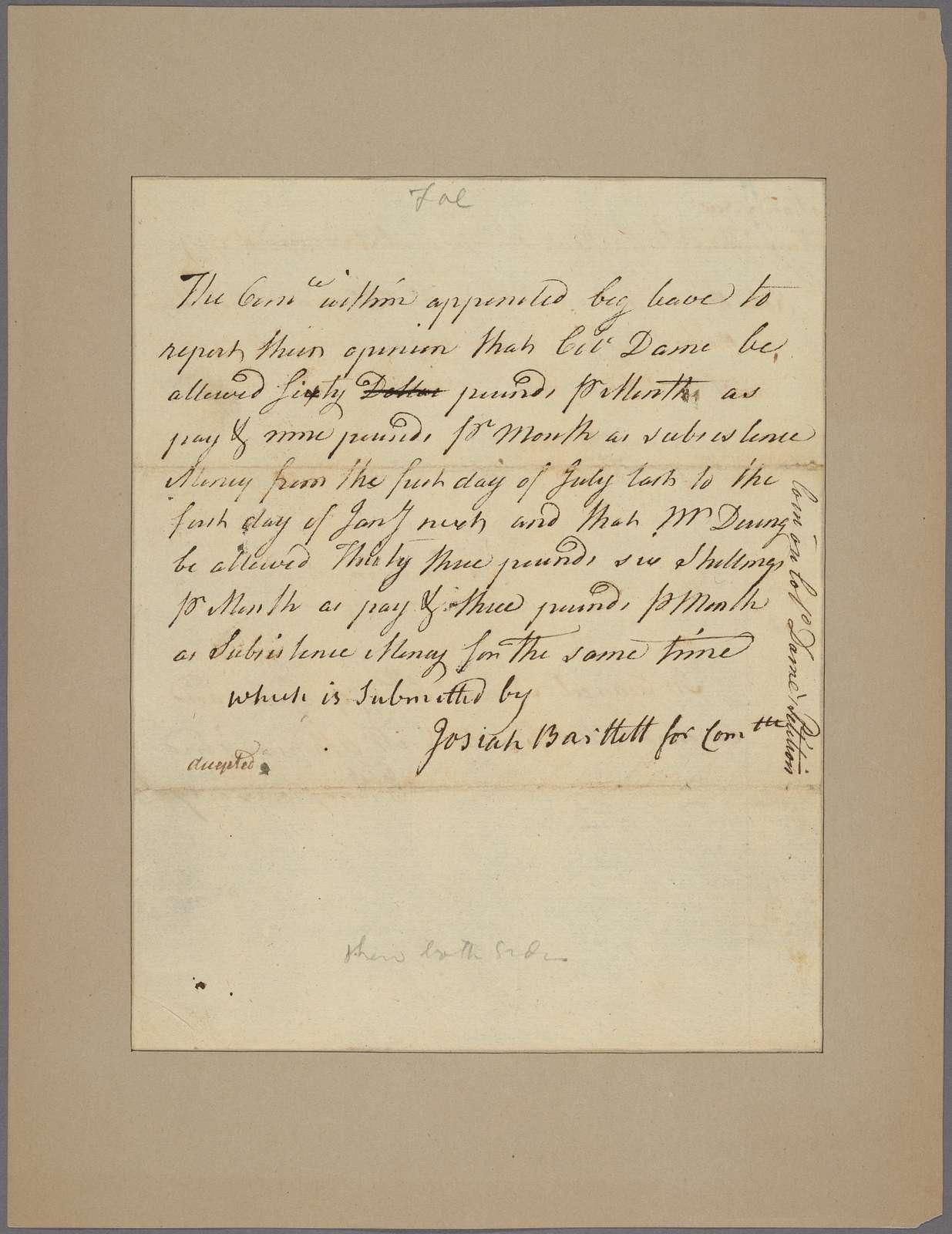 Letter to Josiah Bartlett, Philadelphia