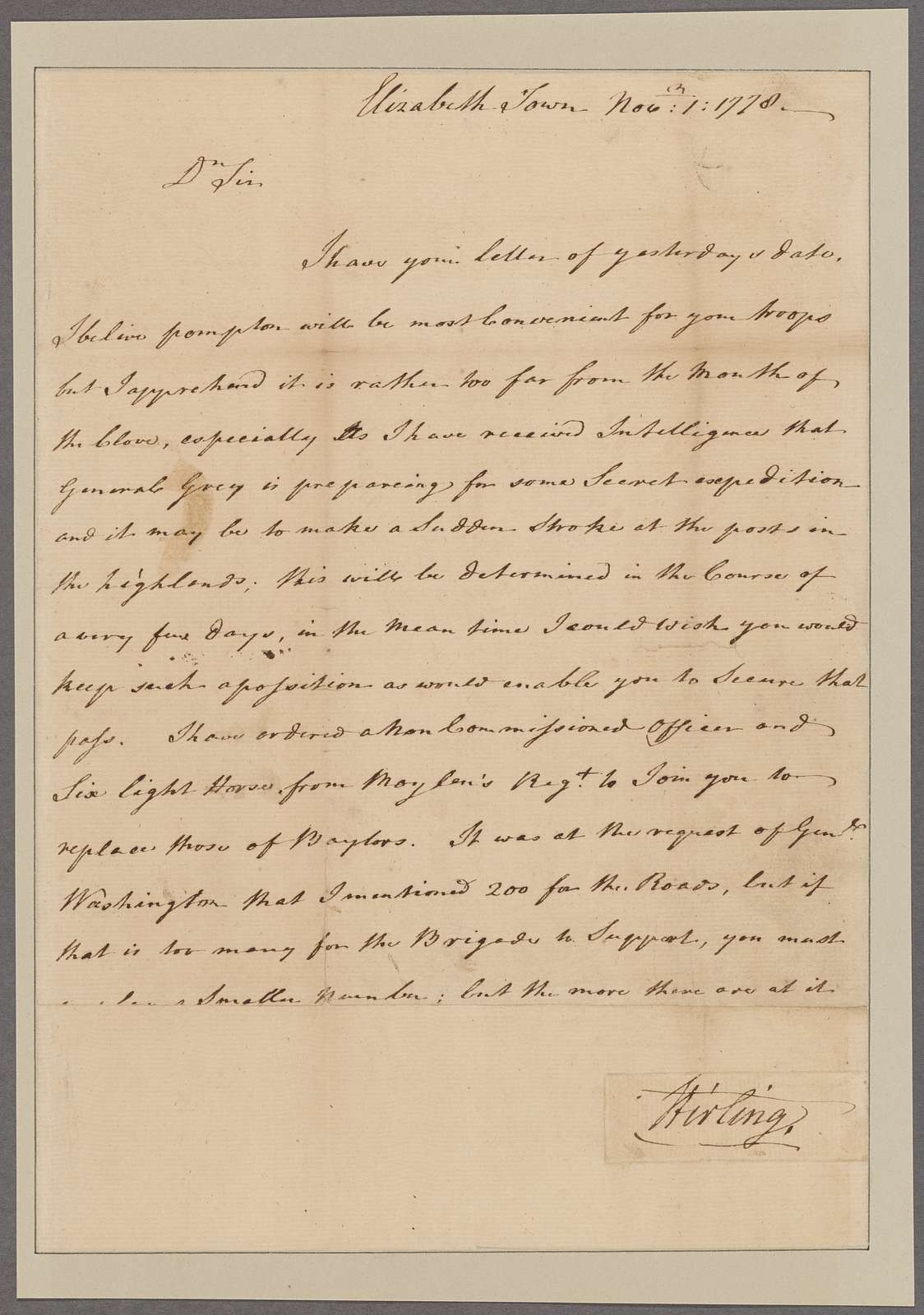 Stirling, Lord. Elizabethtown. To Colonel Morgan