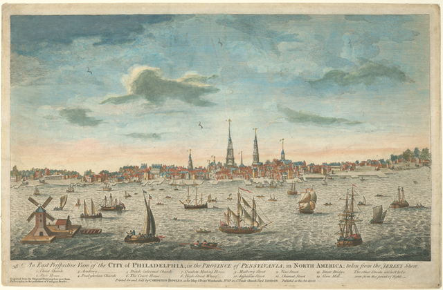 An east perspective view of the city of Philadelphia, in the province of Pensylvania, in North America; taken from the Jersey shore