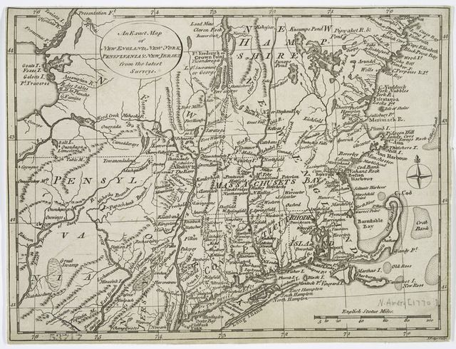 An exact map of New England, New York, Pensylvania & New Jersey, from the latest surveys