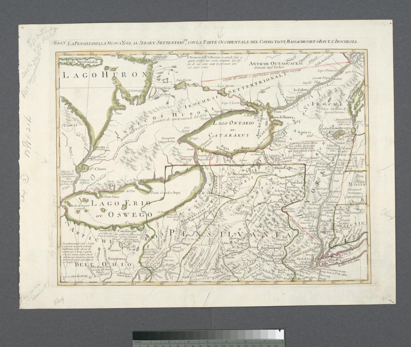 La Pensilvania, la Nuova York, il Jersey Settentrio[na]le: con la parte occidentale del Connecticut, Massachusset-s-bay e l'Irochesia.