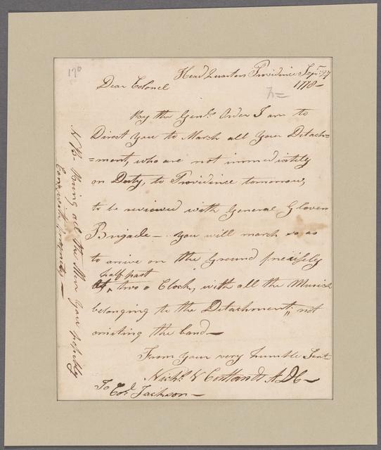 Van Cortlandt, Nicholas. Headquarters, Providence. To Colonel Jackson