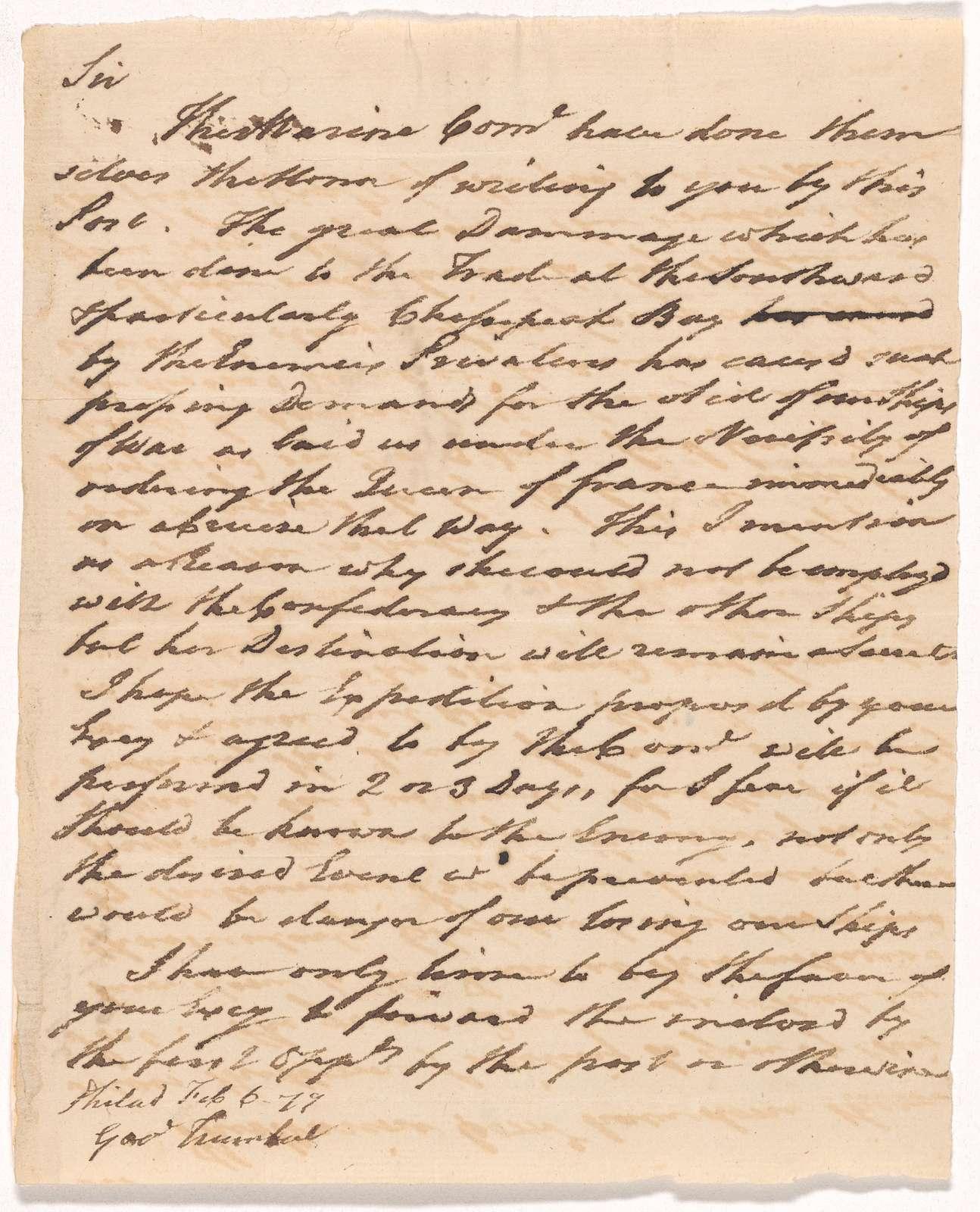 Letter to Jonathan Trumbull