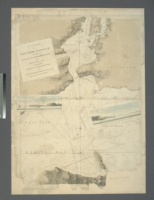 A chart of New York Harbour : with the soundings, views of land marks and nautical directions for the use of pilotage