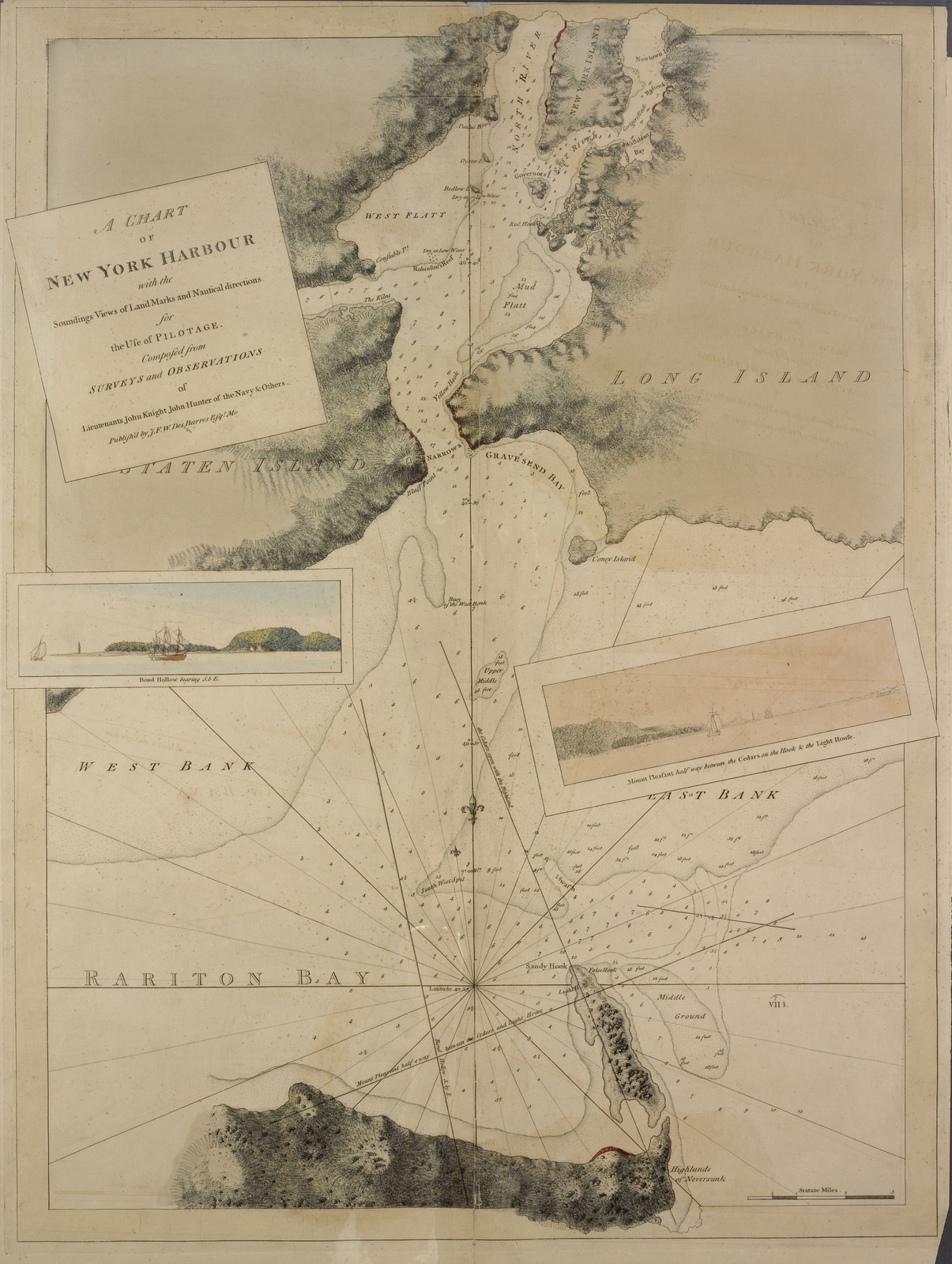 Map Of New York Harbour.A Chart Of New York Harbour With The Soundings Views Of Land