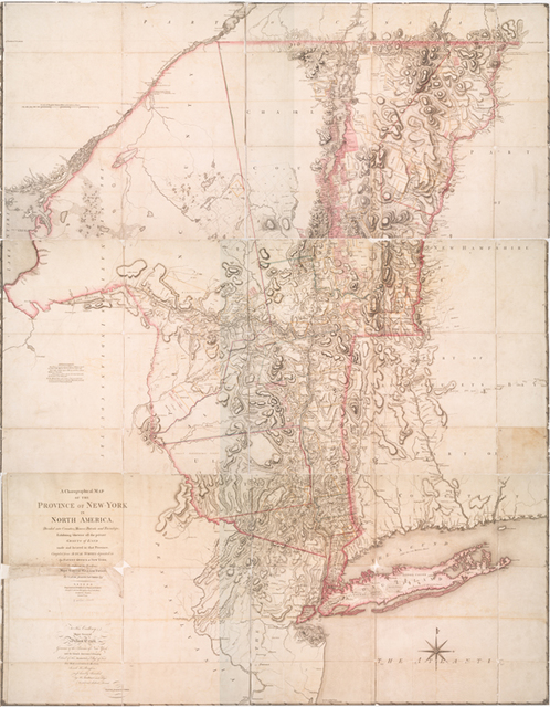 A chorographical map of the province of New-York in North America, divided into counties, manors, patents and townships.
