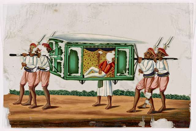 Aristocrat in green palanquin, accompanied by four bearers and a servant