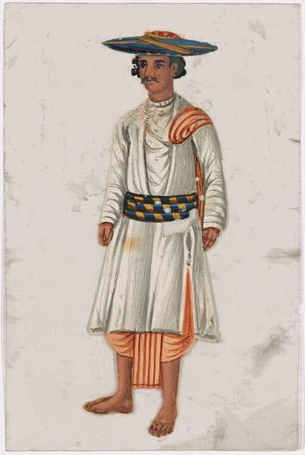 Male servant in white clothes with striped belt, blue hat, and orange dhoti