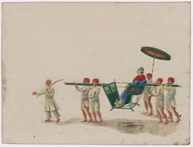 Open litter with male passenger, umbrella, four bearers, and two attendants