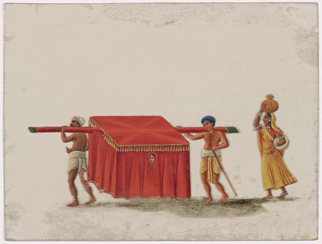 Red draped litter with female passenger, 2 carriers, and female attendant in yellow sari