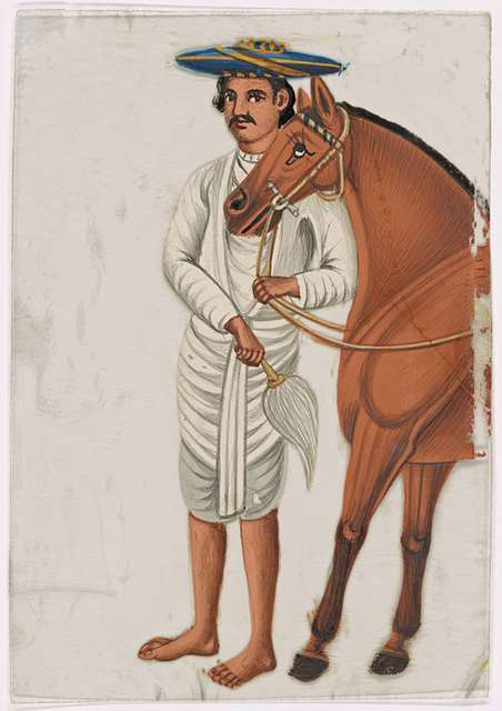 Servant/groom in white clothes and blue hat, holding the reins of brown horse