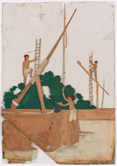 Three men on river structures with ladders and levers