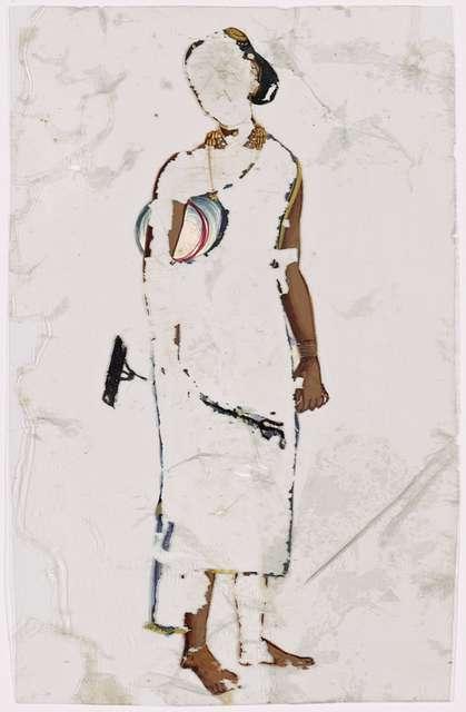 Woman with rake or brush