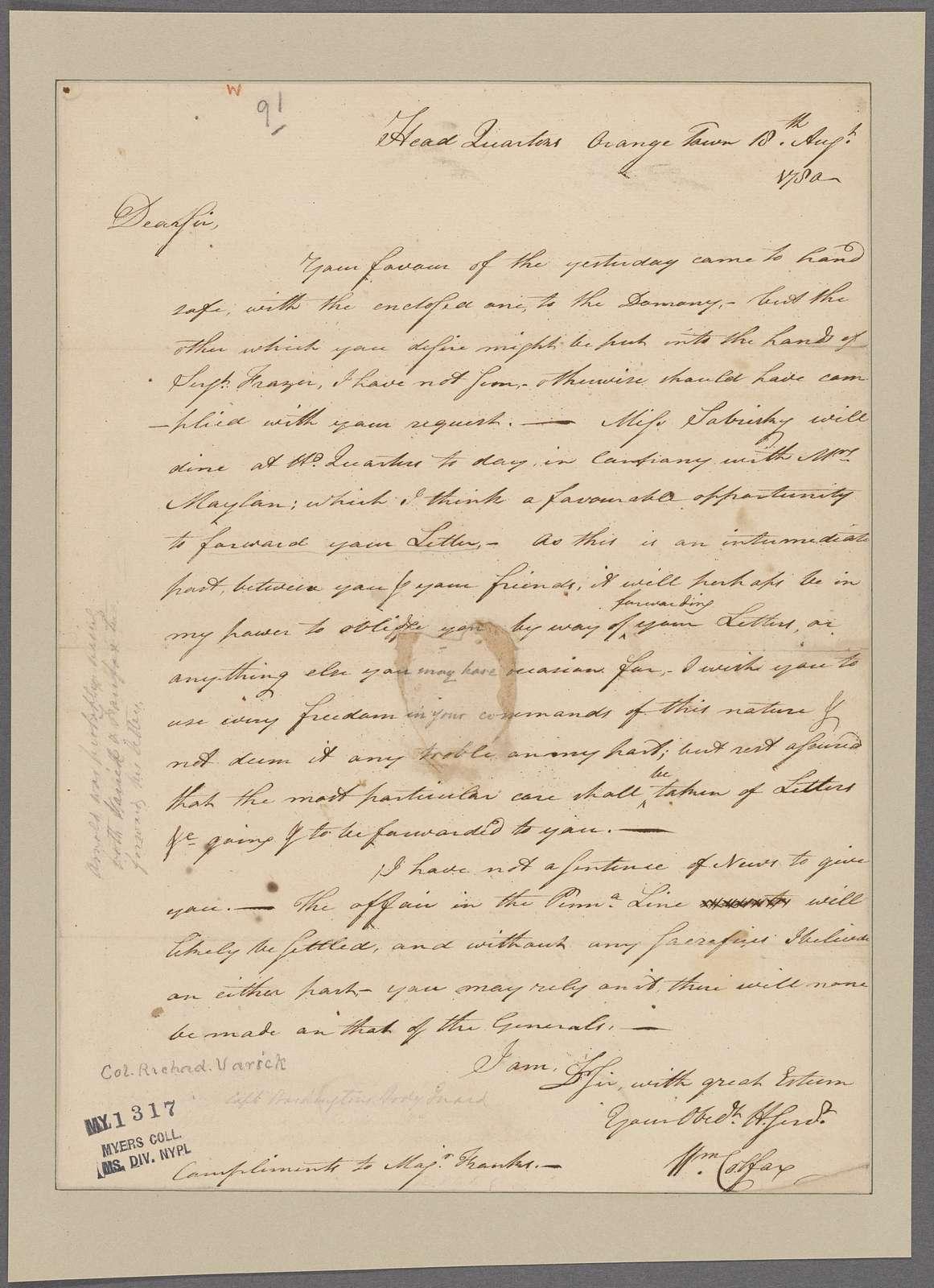 Colfax, William. Headquarters, Orangetown. To [Colonel Richard Varick]