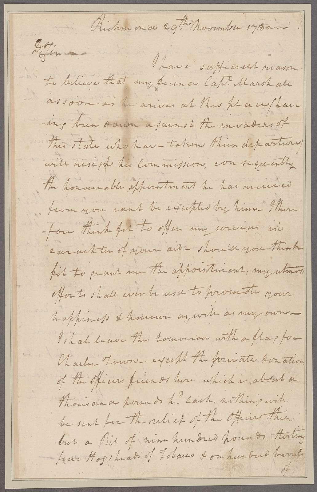 Young, Henry. Richmond. To Brigadier General Morgan