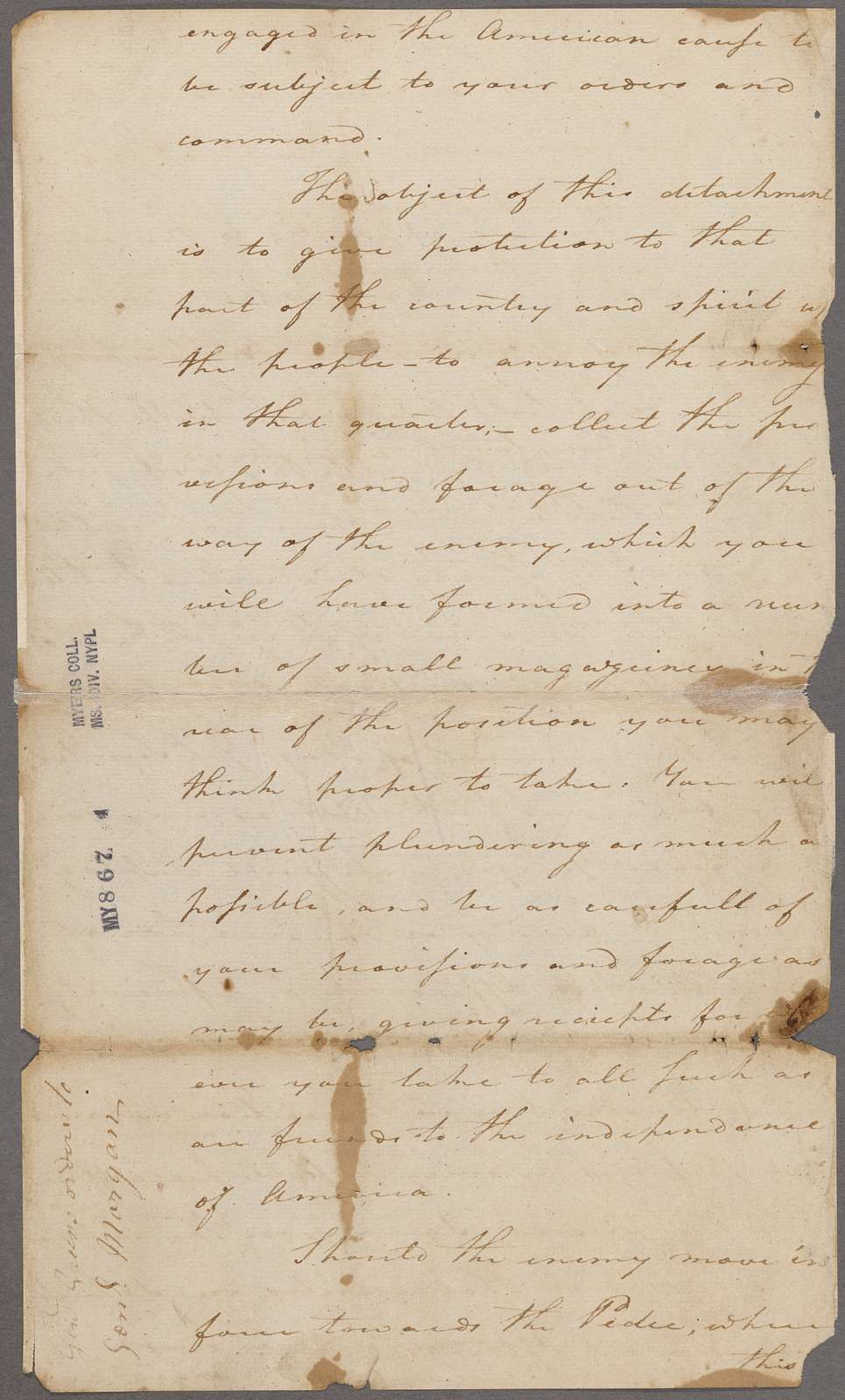 Greene, Nathanael. Charlotte. To General Morgan