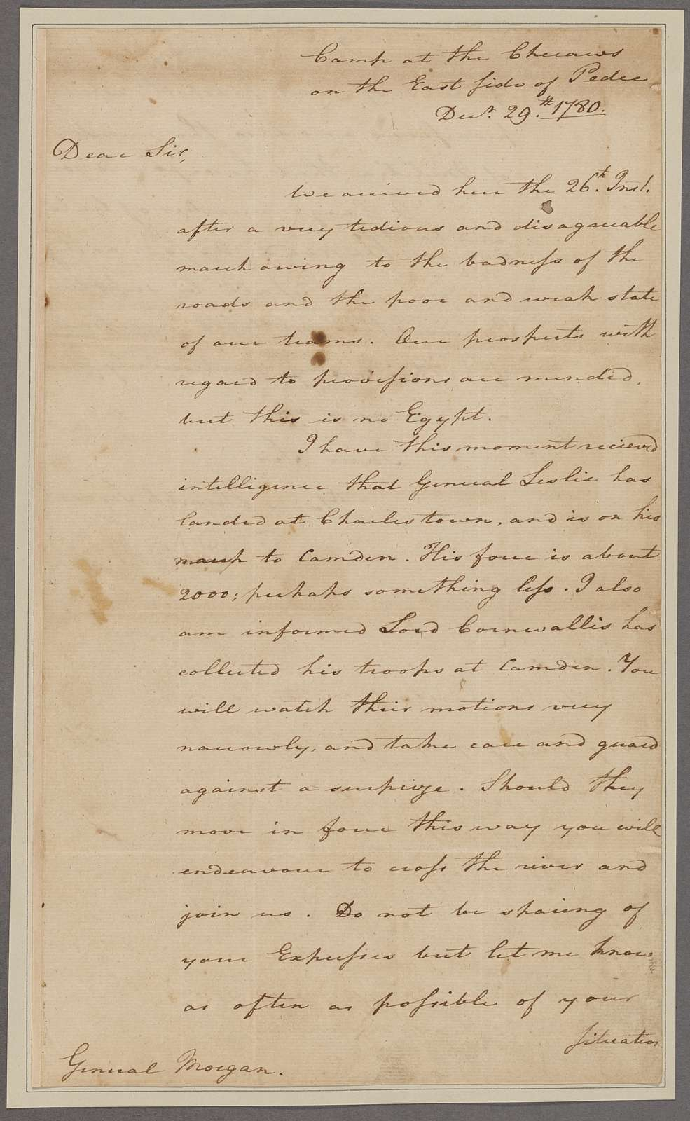 Greene, Nathanael. Camp at Checaws on the East Side of Pedee. To General Morgan
