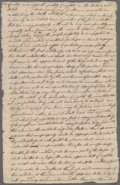 Joseph Hawley letter to the Massachusetts Constitutional Convention