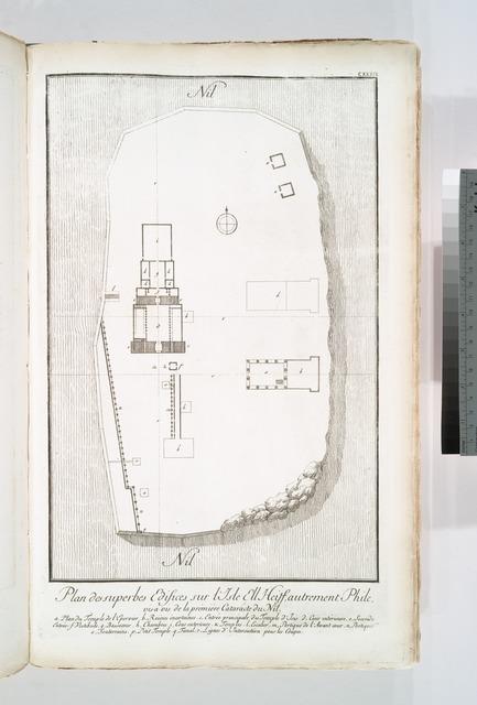 Plan des superbes edifices sur l'Isle Ell Heiff, autrement Phile, vis-à-vis de la prémiére cataracte du Nil.