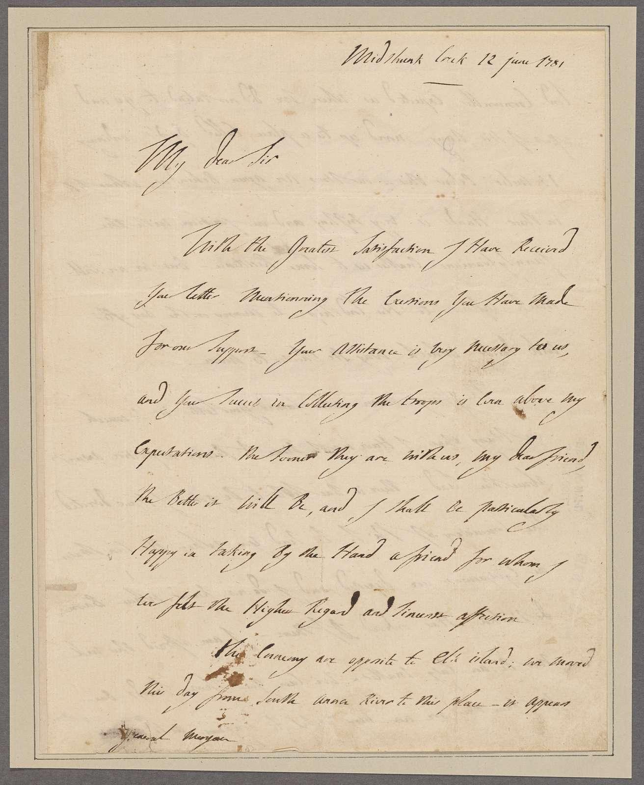 Lafayette, [Marquis de]. Midthunk. To General Morgan