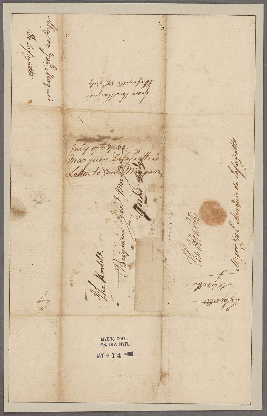 Lafayette, [Marquis de]. Richmond. To General Morgan