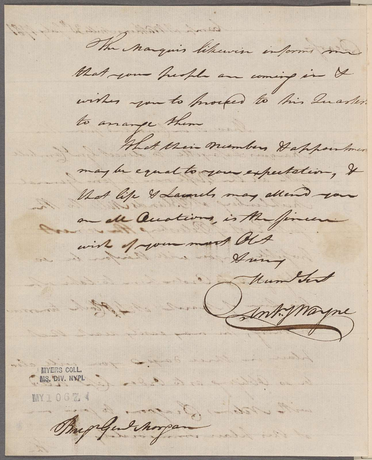 Wayne, Anthony. Camp at Watkins. To Brigadier General Morgan