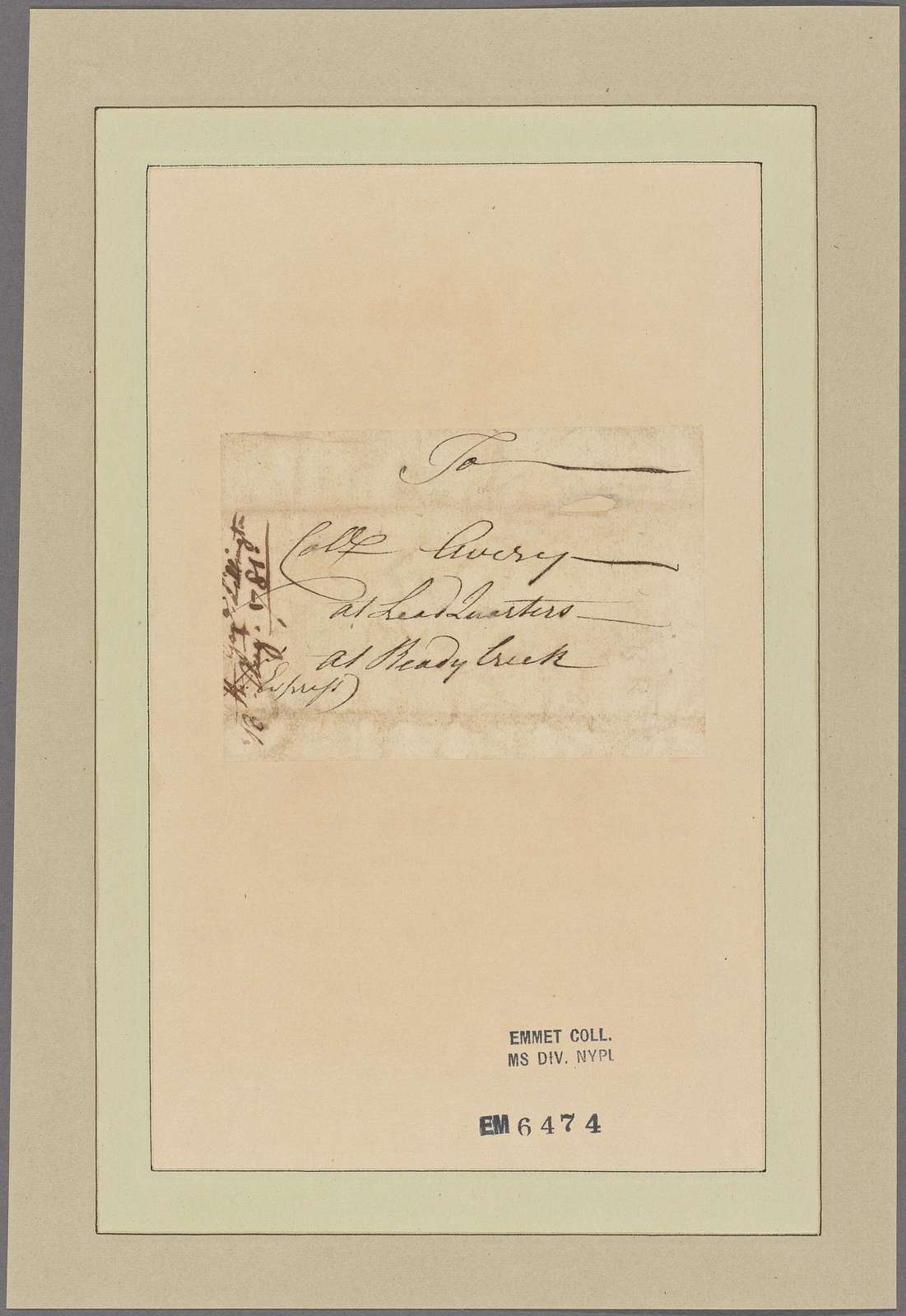 Letter to Col. [Waightstill] Avery, Head Quarters, Ready Creek