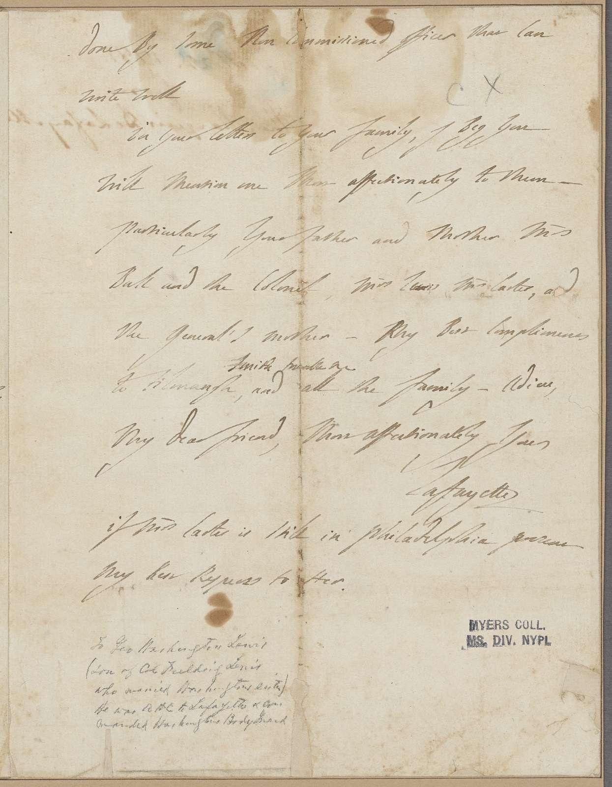 Lafayette, Marquis de. To [G.A. Washington.]