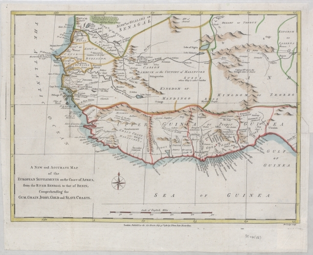 A new and accurate map of the European settlements on the coast of Africa, from the River Senegal to that of Benin, comprehending  the gum, grain, ivory, gold and slave coasts