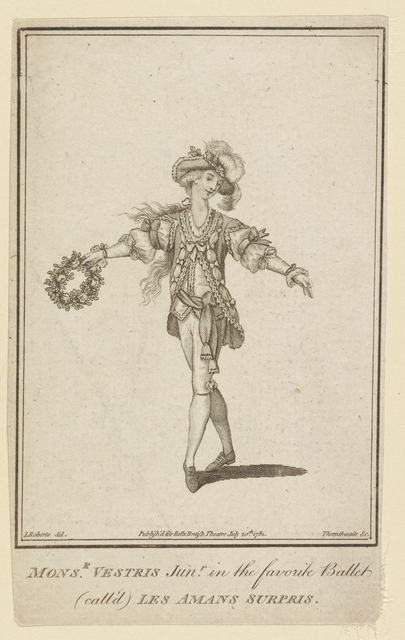 Monsr. Vestris Junr. in the favorite ballet (call'd) Les amans surpris