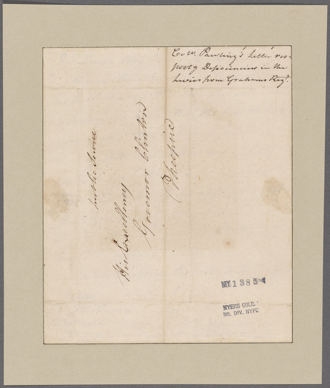 Pawling, Henry. Marbletown. To Governor Clinton