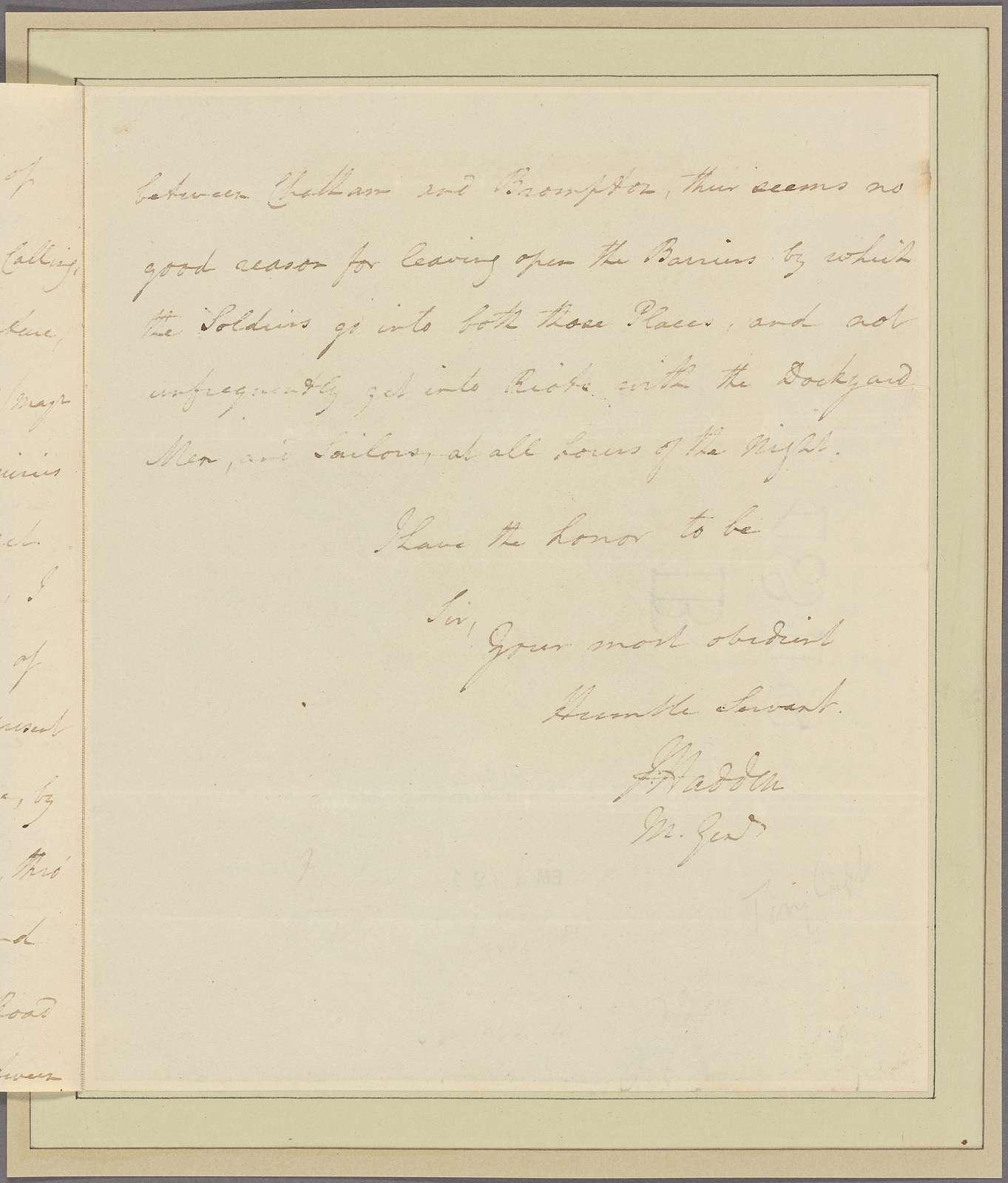 Letter to Capt. [Thomas?] Pemberton, Head Quarters [Newburg]