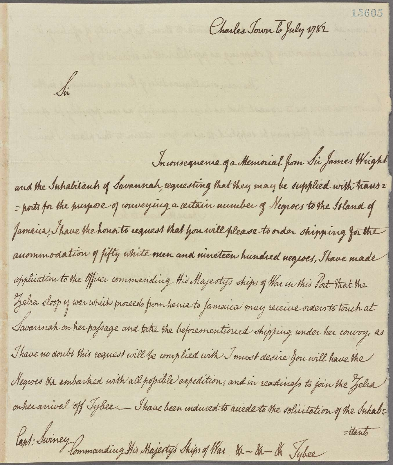 Letter to Capt. Swiney, Commanding His Majesty's Ships of War, Tybee