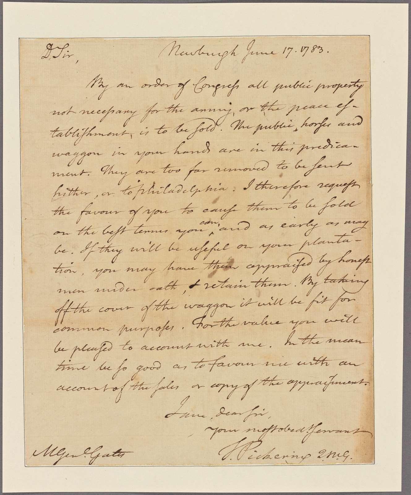 Letter to Gen. [Horatio] Gates, Berkely Co., Va.