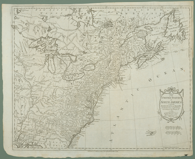 Map of the United States in North America : with the British, French and Spanish dominions adjoining, according to the Treaty of 1783
